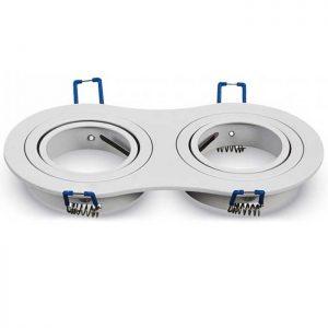 Βάση Σποτ GU10 Στρογγυλή Άσπρη 2 Θέσεων 173x9 x25mm