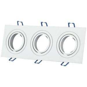 Βάση Σποτ GU10 Tετράγωνη Άσπρη 3 Θέσεων 255x91x25mm