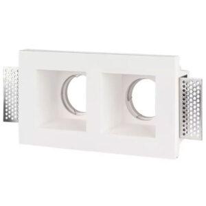 Βάση Σποτ GU10 Led Τετράγωνη Άσπρη Γύψινη με 2 Θέσεων 290x140x80mm