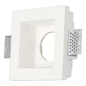 Βάση Σποτ GU10 Led Τετράγωνη Άσπρη Γύψινη 190x140x80mm