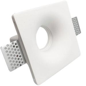 Βαση Σποτ Γυψινη GU10 Χωνευτη Τετραγωνη Ασπρη