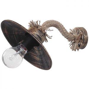 φωτιστικό απλίκα πλαστικό μπρούτζινο με σχοινί