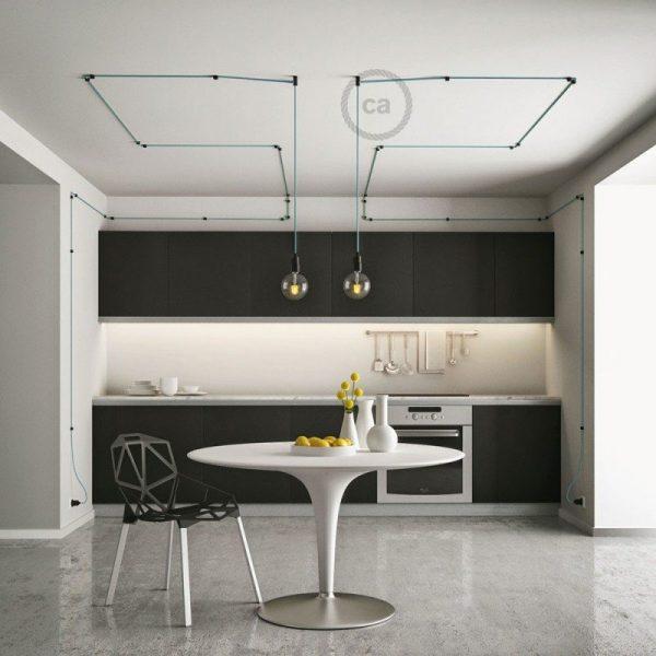 μαύρο στήριγμα τοίχου για υφασμάτινο καλώδιο-image