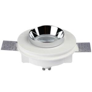 Χωνευτό φωτιστικό σπότ GU10 γύψινο στρογγυλό με λευκό & χρώμιο σώμα