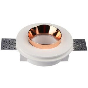 Χωνευτό φωτιστικό σπότ GU10 γύψινο στρογγυλό με λευκό & ροζ χαλκό σώμα
