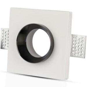 Χωνευτό φωτιστικό σπότ GU10 γύψινο τετράγωνο με λευκό & μαύρο σώμα