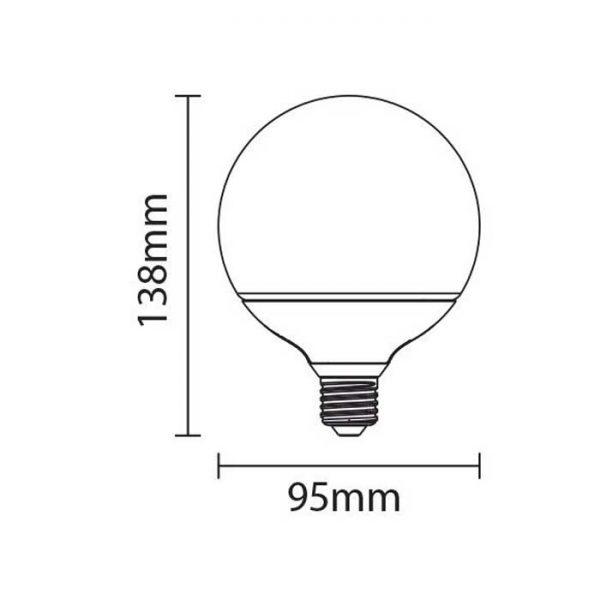 Λάμπα LED E27 12W G95 Διαστάσεις