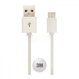 Kαλώδιο Micro Usb 3m Λευκό