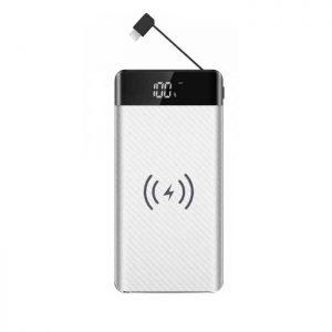 PowerBank 20000mAh με Ασύρματη Φόρτιση και Ενσωματωμένο Καλώδιο Micro USB Άσπρο