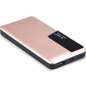 PowerBank 10000mAh με Οθόνη και Τype C USB Χρυσό Ροζέ