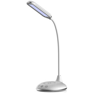 Φωτιστικό Γραφείου LED 5W με Στρογγυλή Βάση & Ασύρματη Φόρτιση με Εναλλαγή Χρωμάτων 3σε1 Άσπρο Σώμα Dimmable 8605