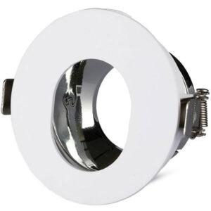 Βάση Spot Χωνευτή GU10 Στρογγυλή με Λευκό & Xρώμιο