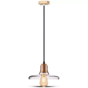 Kρεμαστό Φωτιστικό Οροφής E27 με Amber Γυαλί &