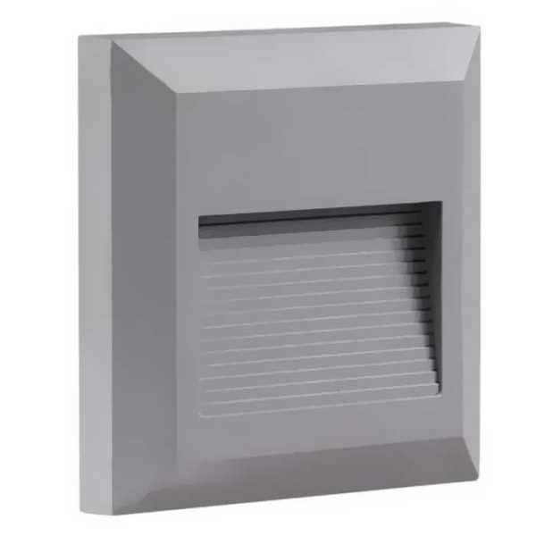 Τετράγωνο Εξωτερικό Φωτιστικό 2W 230V 55° 80lm Ζεστό Λευκό Γκρί Σώμα IP65 WL7513 OPTONICA