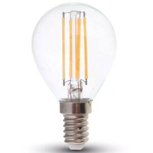 lampa-led-filament-E14-P45-6W-800lm-130lm-W-diafano-gyali-V-TAC